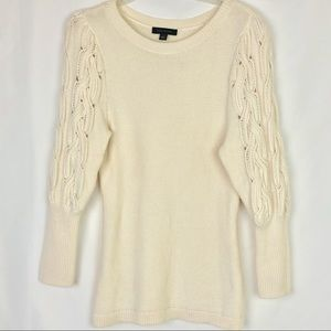 Ann Taylor Wool Blend Cable Puff Sleeve Sweater